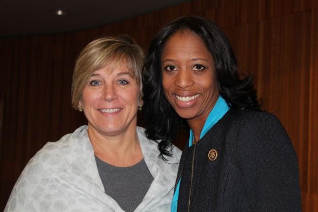 Mia Love, right, and SLCC President Huftalin