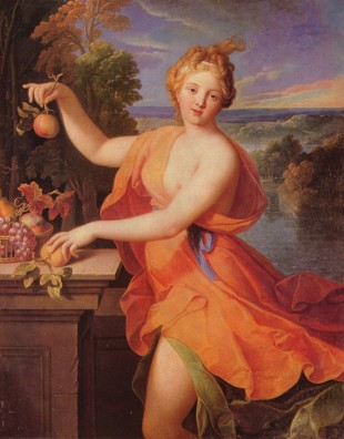 A painting of the Roman goddess Pomona by Nicolas Fouché circa 1700