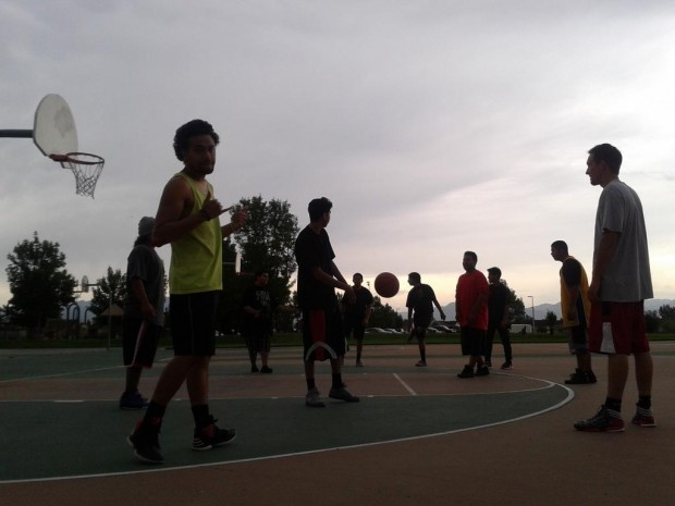 Pick-up basketball game