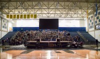 Stage set for Rainn Wilson lecture at Redwood Campus