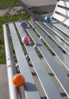 Easter eggs on a bench