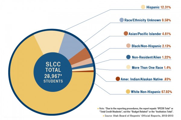 SLCC student ethnicity chart for 2012-13