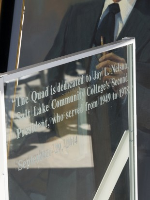 The dedication plaque for Jay L. Nelson to be displayed in the quad.