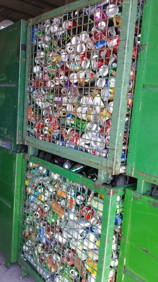 Containers full of aluminum cans