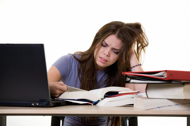 Female college student stressed