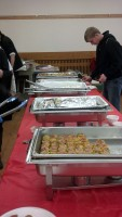 Student in line to receive Asian food