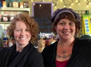 Carlene Carlson and Erin Arrigo serve up smiles at Dancing Cranes and Cafe Solstice.