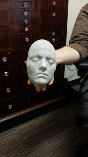 A mold of someone's face that was made at Salt Lake Community College.