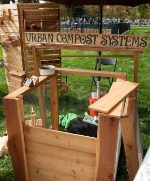 A locally made composter available for purchase at the Farmers Market.
