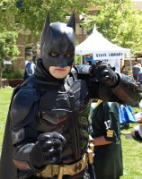 Batman (James C. Carlson) of H.E.R.O.I.C. Inc was one of many superheros to wander the crowded Rio Grand Street for the festival.