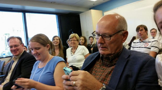 Harry Smith on his phone