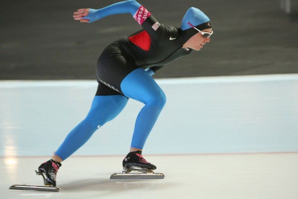 American speed skater Kelly Gunter at a World Cup event on March 7, 2010.