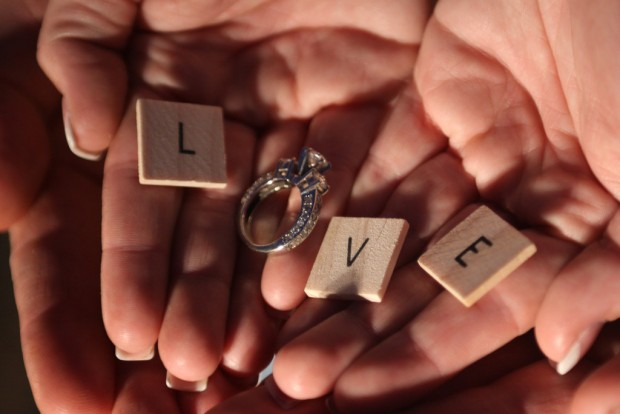 'Love' spelled out with a ring as the 'o'