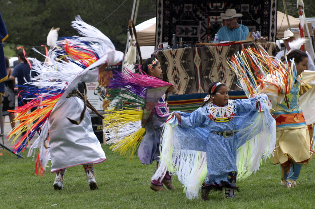 The Jr. Girls competition for the traditional dance known as Fancy Shawls was a whirl of vivid colors and rhythmic movements