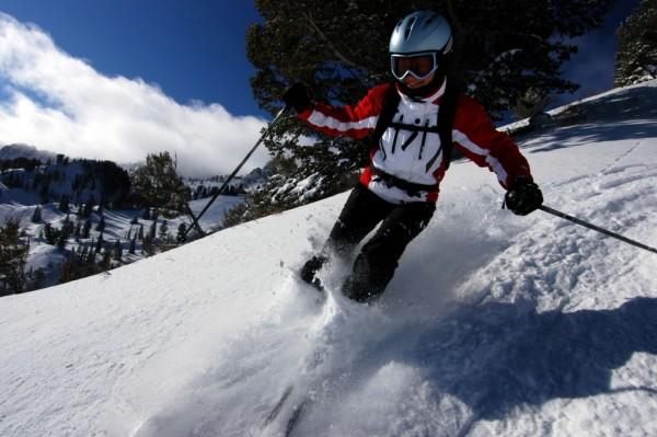 Skiing on a hillside