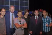 Left to right: Alex Heartman, Dan Farr, Hector David Jr, Steven Skyler, Governor Gary Herbert, Najee De-Tiege