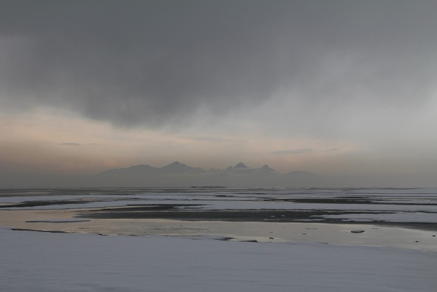 Great Salt Lake in a haze