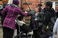 People greet each other before MLK Day march