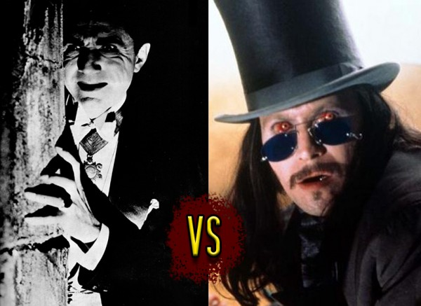 Two images of the two respective Draculas, Bela Lugosi and Gary Oldman