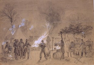 A sketch by Alfred Waud showing a Thanksgiving celebration in the camp of General Louis Blenker during the Civil War in 1861.