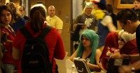 SLCC students and friends crowd around the registration desk for the Anime SLC fest