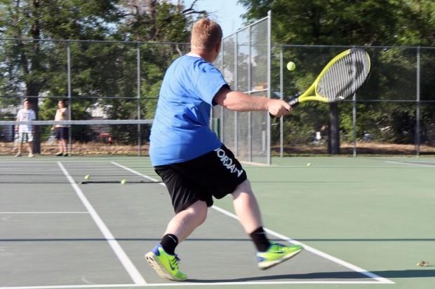 Seth Horrocks returns a volley