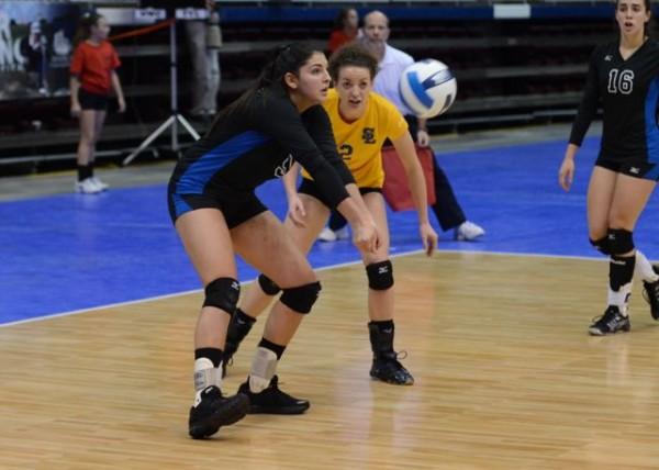 Mariana Pilon digs the ball at Nationals